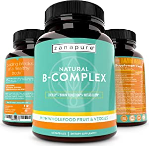 Natural Whole Food Vitamin B Complex, All B Vitamins Including B12, Folic Acid, Biotin- Vegan Vitamin B Complex Supplement for Stress, Energy, Immunity w/ 800 mg Organic Fruits and Vegetables