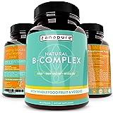 Natural Whole Food Vitamin B Complex, All B Vitamins Including B12, Folic Acid, Biotin- Vegan Vitamin B Complex Supplement for Stress, Energy, Immunity w/ 800 mg Organic Fruits and Vegetables