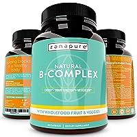 Natural Whole Food Vitamin B Complex, All B Vitamins Including B12, Folic Acid,...