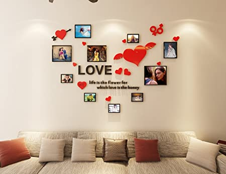 Alicemalllove photo frame wall sticker 3d wall stickers acrylic living room sofa bedroom decal stickers creative