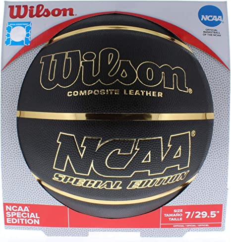 Wilson NCAA Baloncesto Negro y Dorado tamaño Oficial 29.5