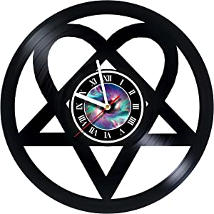 StepArtHouse H.I.M - Heartagram - Band - Design - Handmade Vinyl Record Wall Clock for Birthday Wedding Anniversary Valentine's Mother's Ideas for Men and Women him and her