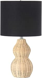 "Main + Mesa Woven Rattan Table Lamp with Drum Shade Boho Natural Brown Finish with Black Linen Shade, 24"", Natural"