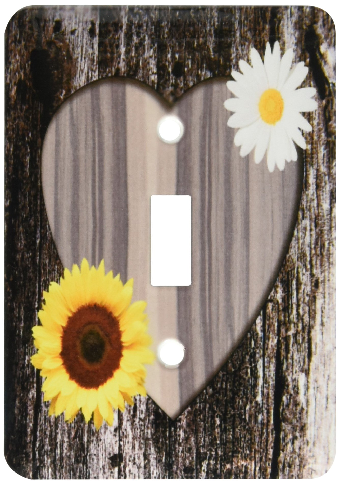3dRose lsp_181828_1 Wood Image Heart with Sunflower and Daisy Light Switch Cover