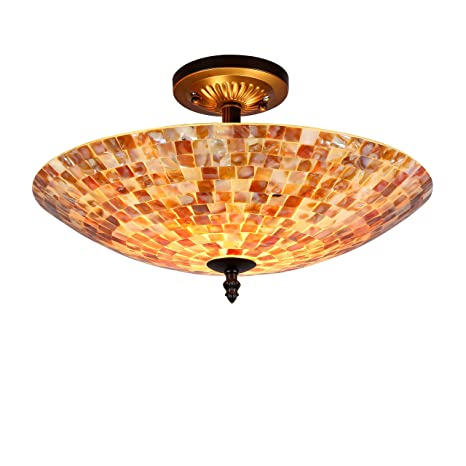 Amazon.com: Chloe iluminación Shelley mosaico 2 luz Semi ...