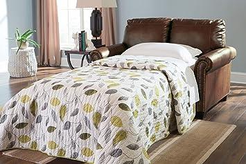 ashley furniture signature design lottie sleeper sofa love seat twin size chocolate - Ashley Furniture Bed Frames