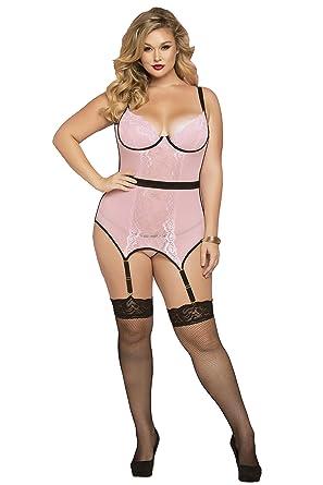 9b5033115c235 Seven 'til Midnight Women's Plus-Size Cage Detailed Chemise Set, Pink, ...