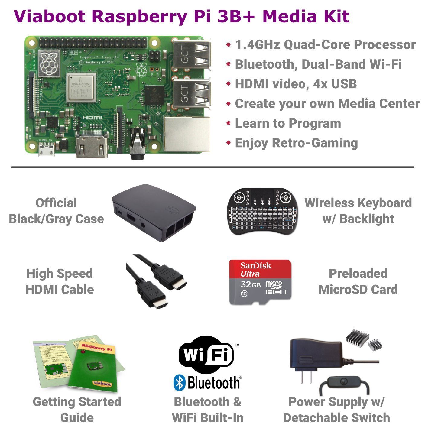 Viaboot Raspberry Pi 3 B+ Deluxe Kit — Official 32GB MicroSD Card, Official Rasbperry Pi Foundation Black/Gray Case, Backlit Keyboard Edition by Viaboot (Image #2)
