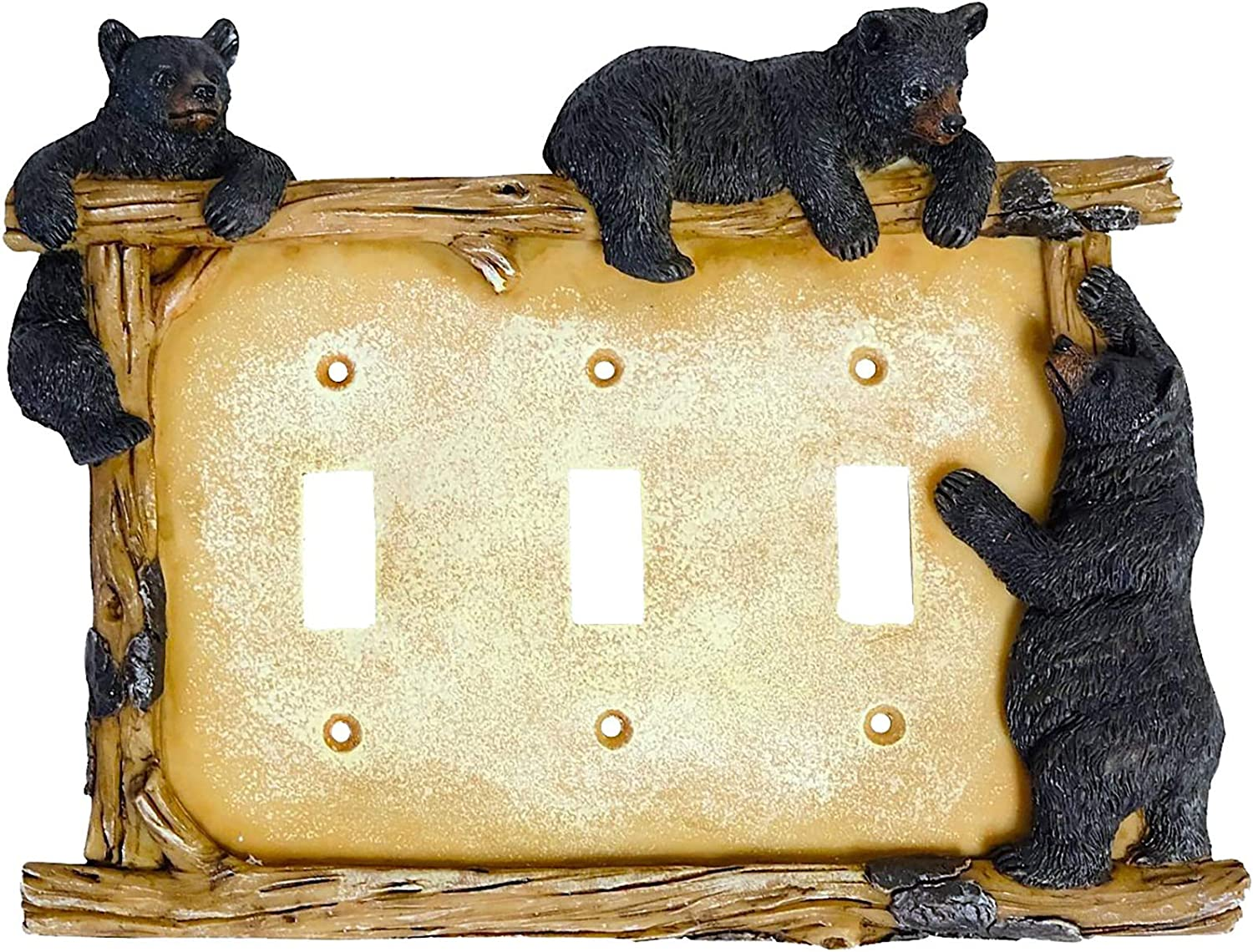 Black Bear on Log Triple Switch Cover Cabin Lodge Style Home Décor