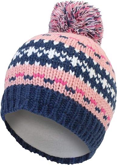 Boys Kids Warm Winter Knitted Bobble Beanie Hat with Pom Pom Age 6-10 Yrs BLUE