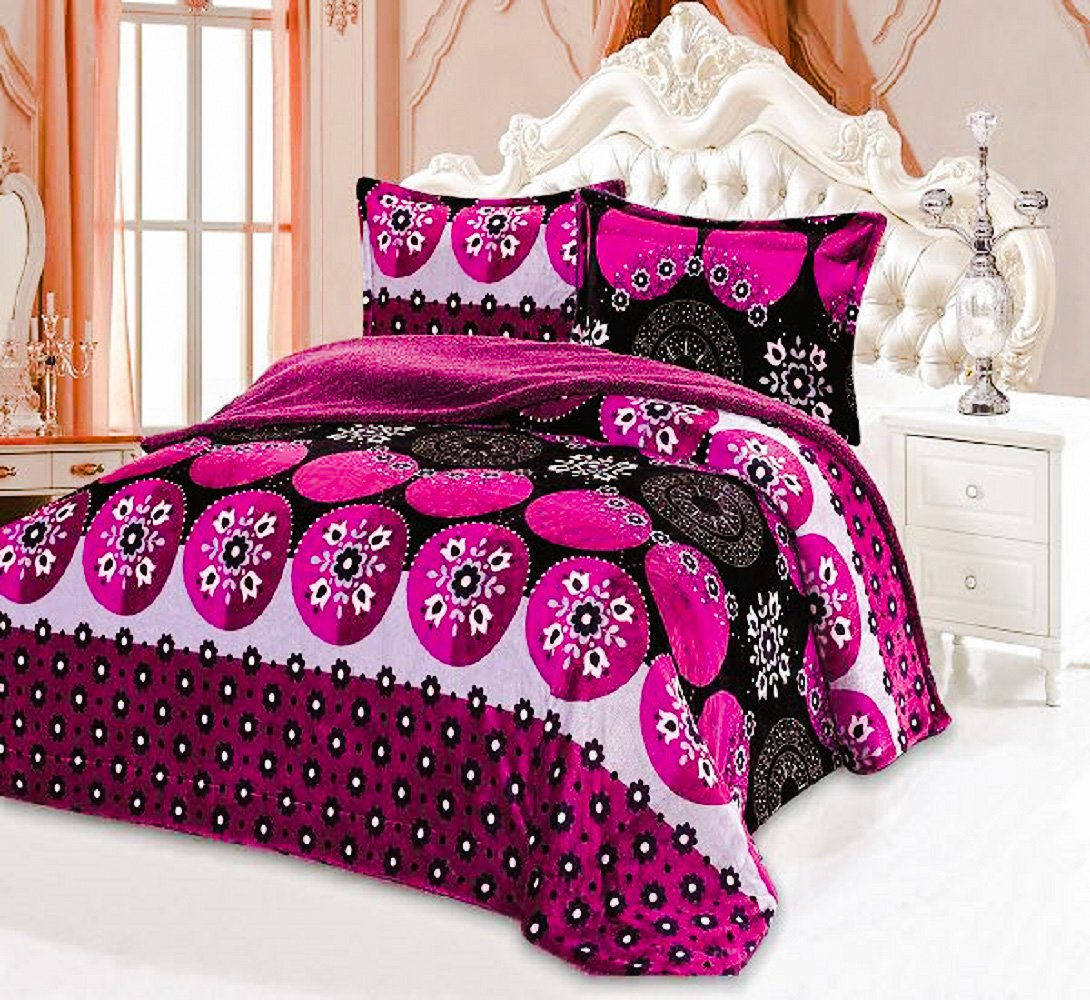 All American Collection New Super Soft and Warm 3 Piece Borrego/Sherpa Blanket Vanessa Queen/King Size (Magenta/Black