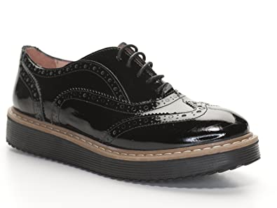 14d5ff154c4316 Lazamani 64-004 Damen Schnürr Schuhe Lack Sneaker Budapster schwarz (36)