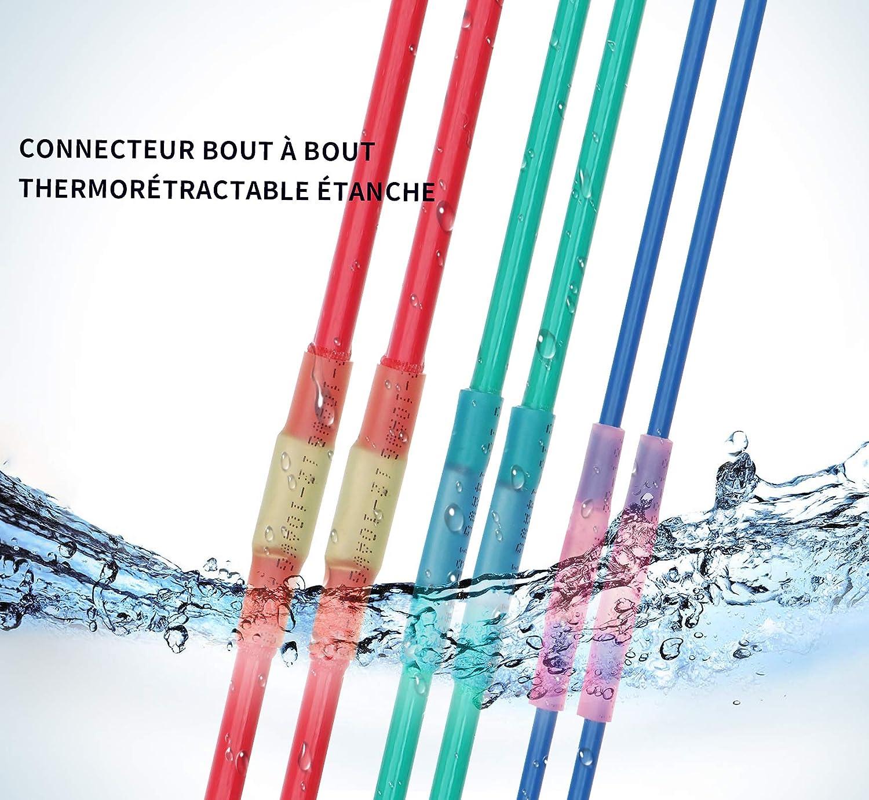 Connecteurs /électriques isol/és thermor/étr/écissables Connecteur thermor/étractable 240 pcs//bo/îte Ensemble de cosses de fils Connecteurs et bornes Rouge et bleu et jaune