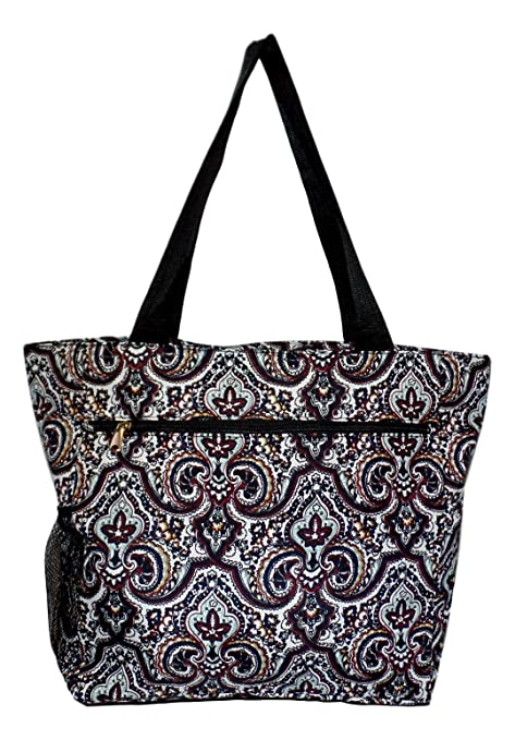 7d3264115c64 Large Multi - Pocket Fashion Zipper Top Beach Bag Tote - Custom Embroidery  Available (New Orleans Print)