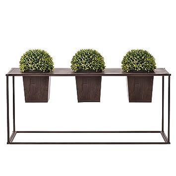 casa.pro]® Blumenkübel mit Pflanztopf Outdoor - Dunkelbraun - Metall ...