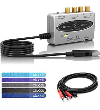Behringer U-Control UCA202 USB Audio Interface Bundle with Tracktion  Software, Hosa CPR-201 Stereo Interconnect Cable, TS to RCA (1 Meter) and  Blucoil
