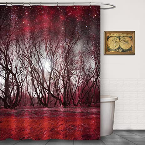 black and red shower curtain set. Red Forest Galaxy Space Polyester Shower Curtain Sets by FOOG Sunbeam Outer  Stars Planet Dreamy Amazon com