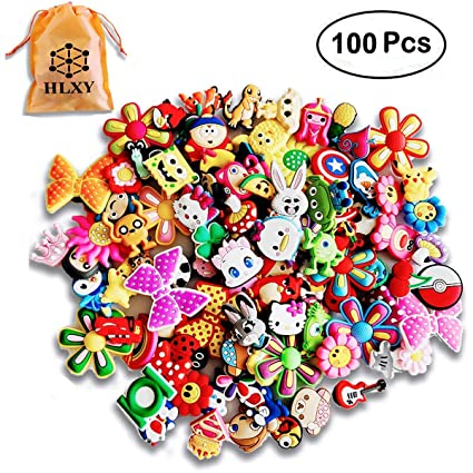 3f8da8090 HLXY Shoe Charms 100 Pcs Different Shape for Jibbitz Croc Shoes   Backpack    Bracelet Wristband