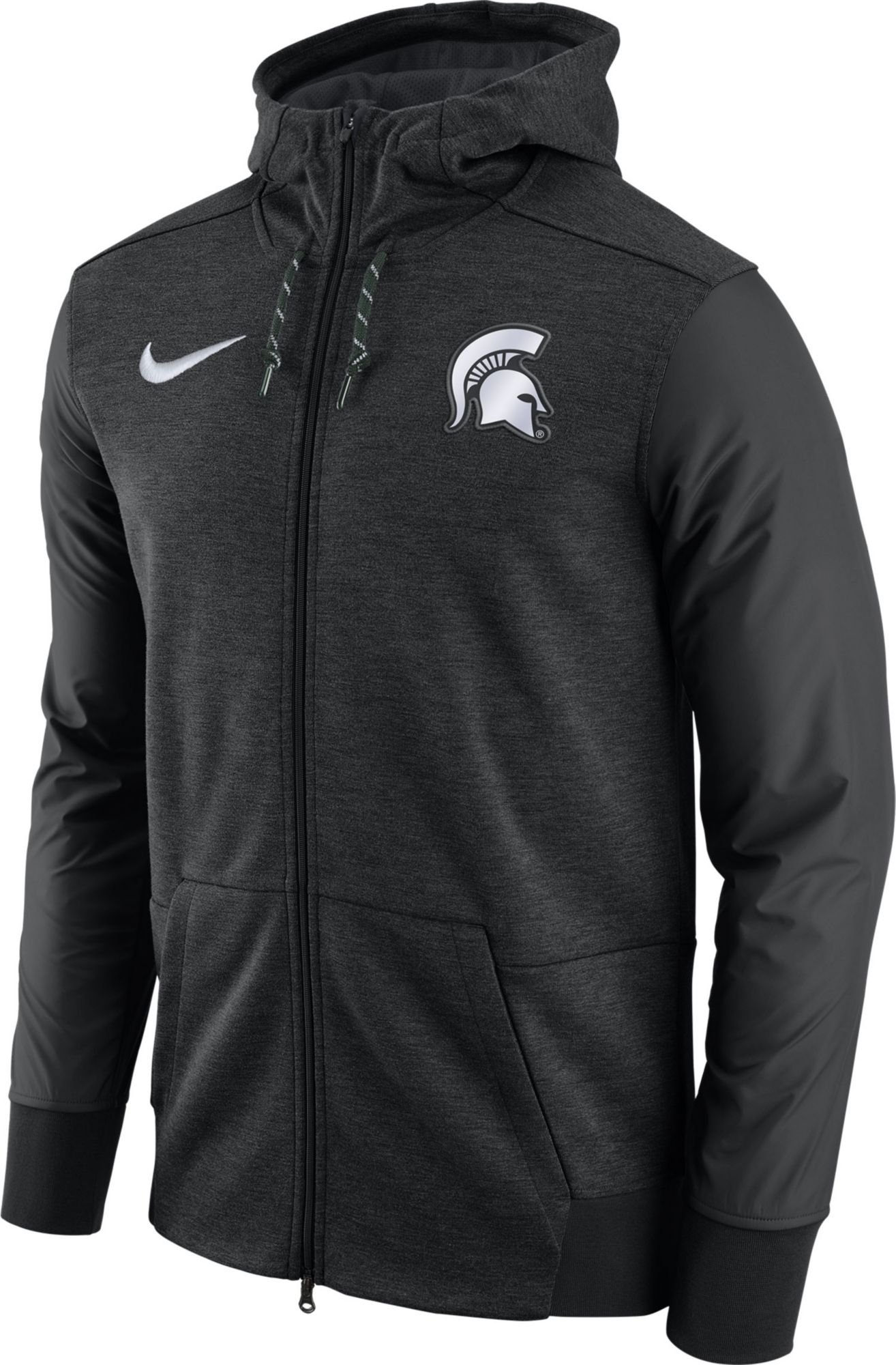 Nike Men's Michigan State Spartans Football Travel Heathered Black Full-Zip Hoodie (L) by NIKE