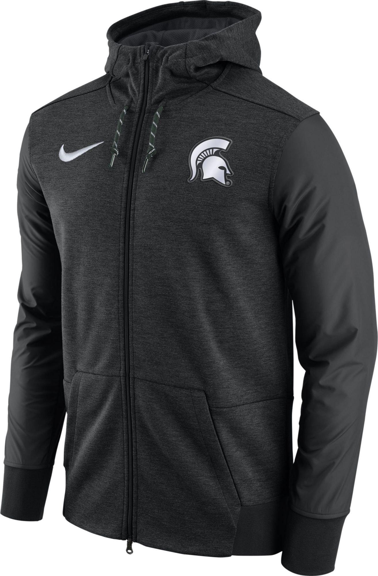 Nike Men's Michigan State Spartans Football Travel Heathered Black Full-Zip Hoodie (L)