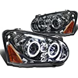 Impreza GD GG Twin Angel Eyes Dual Halo Projector LED Headlight Assembly (Smoke Lens Amber Reflector)