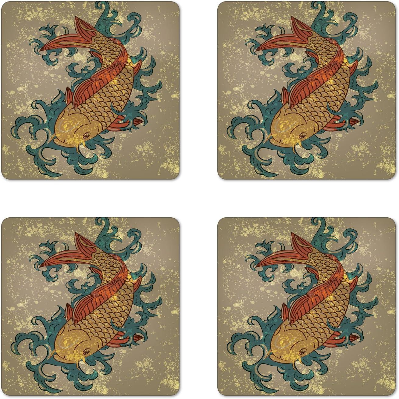 Ambesonne Japanese Coaster Set of 4, Grunge Style Oriental Water Koi Carp Fish Aquatic Theme Distressed Pattern, Square Hardboard Gloss Coasters, Standard Size, Taupe Teal