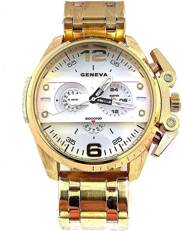 GENEVA Reloj Analógico de Pulsera Oro Quartz Hombre Acero Inoxidable Esfera Blanca (Dorado)