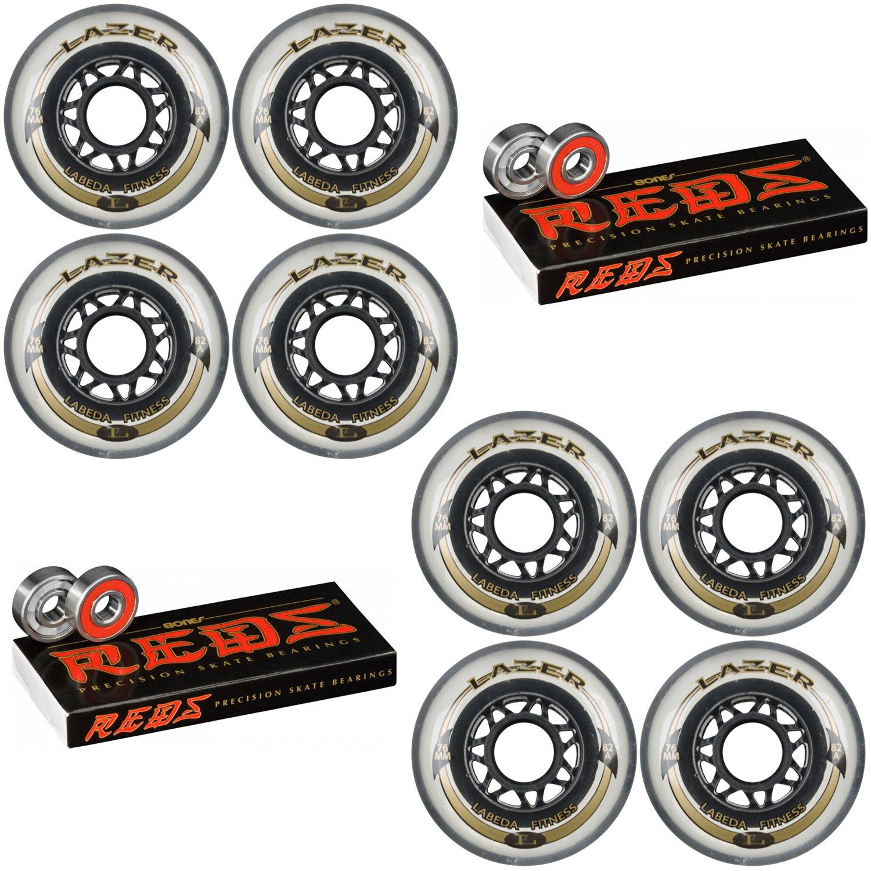 Labeda Inline Wheels Lazer 76mm 82A Clear x8 Bones Reds