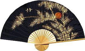"""Medium 40"""" Folding Wall Fan -- Bamboo Moon -- Original Hand-painted"""