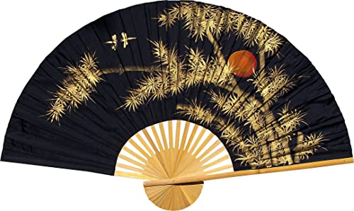 Medium 40 Folding Wall Fan — Bamboo Moon — Original Hand-painted