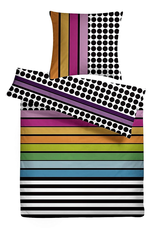 Carpe Sonno kuschelige Biber-Bettwäsche 240 x 220 cm Mehrfarbig in bunt - Paar-Bettwäsche mit Reißverschluss aus 100% Baumwolle Flanell - edles Bettwäsche Set 3-TLG mit 2 Kopfkissenbezügen