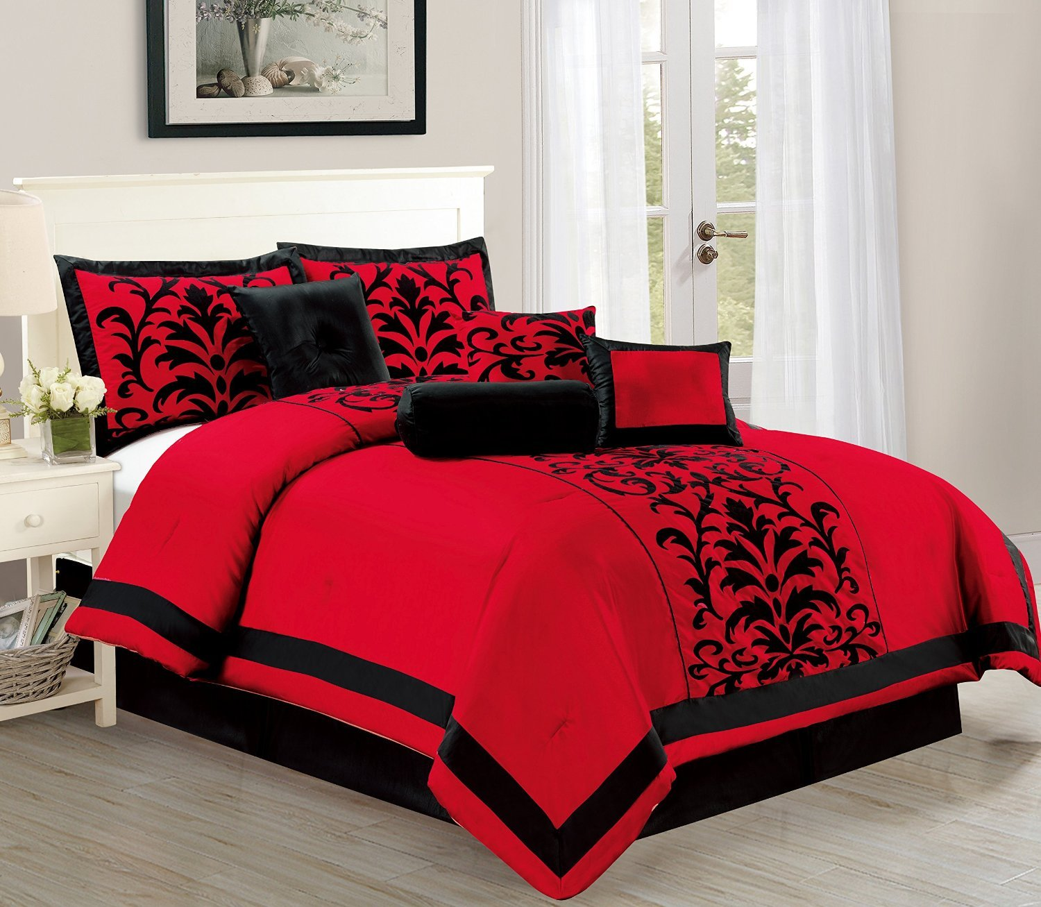 amazoncom empire home dawn 10 piece comforter set over sized bed in a bag red u0026 black new arrival 50 sale till the end of the month only queen size