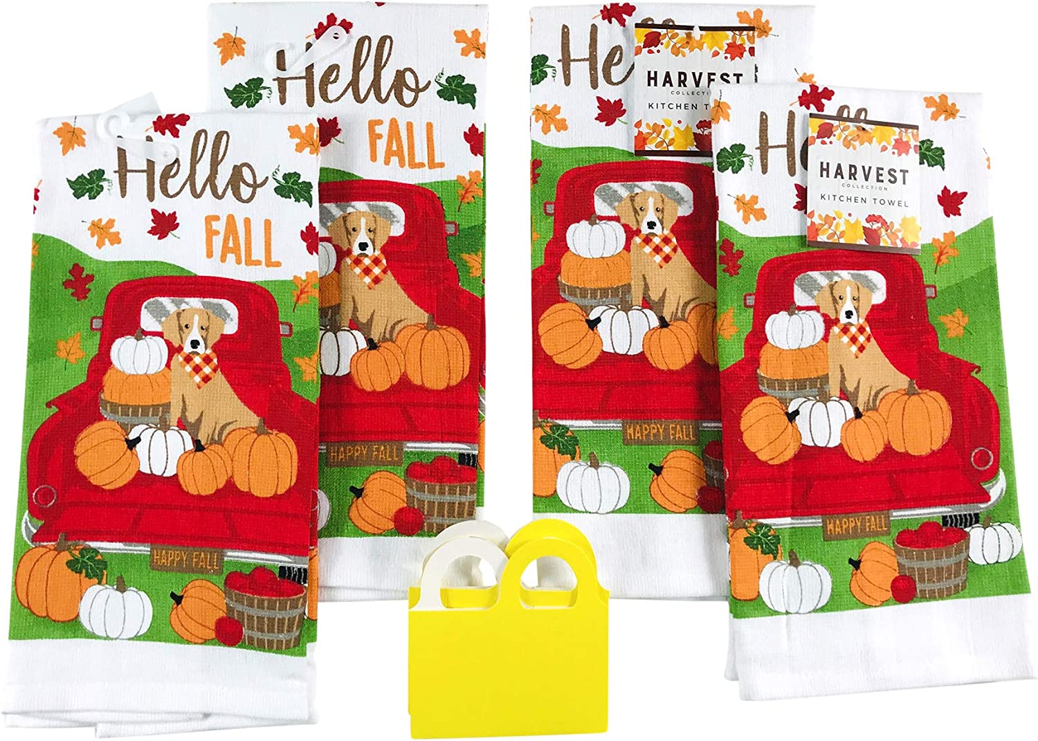 Amazon Com Fall Harvest Kitchen Dish Towels Set Brown Dog Enjoys The Colorful Autumn Leaves And Pumpkins In Farm Truck Set Of 4 Fall Dogs Home Kitchen