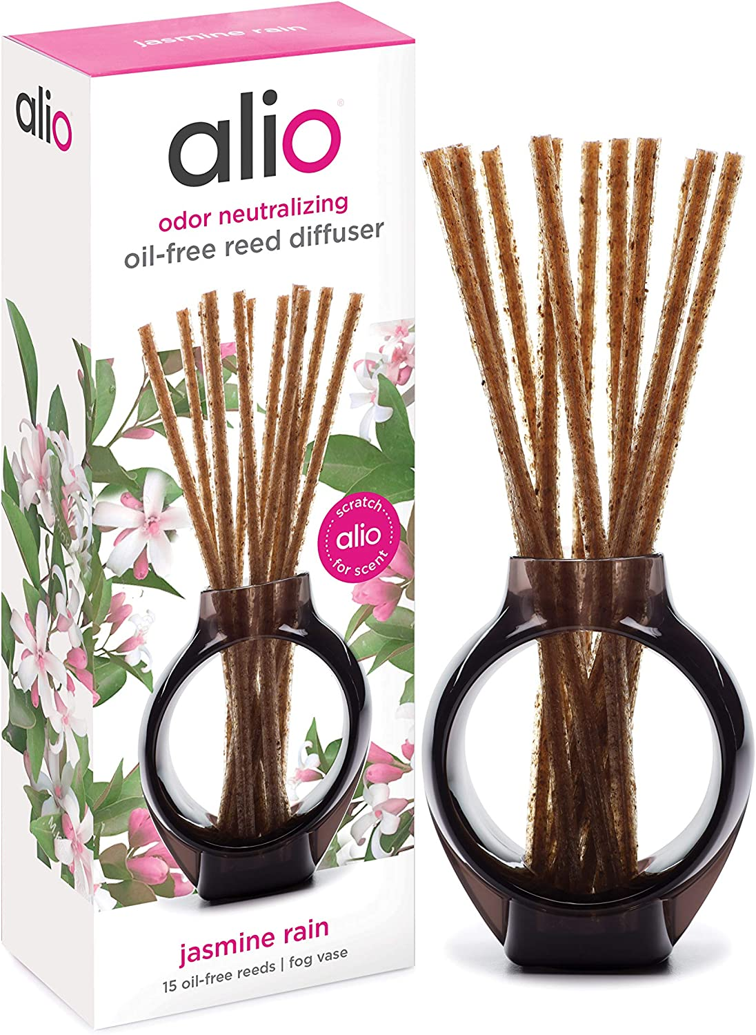 ALIO Oil-Free Reed Diffuser – Jasmine Rain – Odor Neutralizing with Subtle Scent, Pet and Eco Friendly – Set of 15 Oil-Free Reeds and Signature Vase – No Oils, Sprays, Plug-Ins, or Flames Required