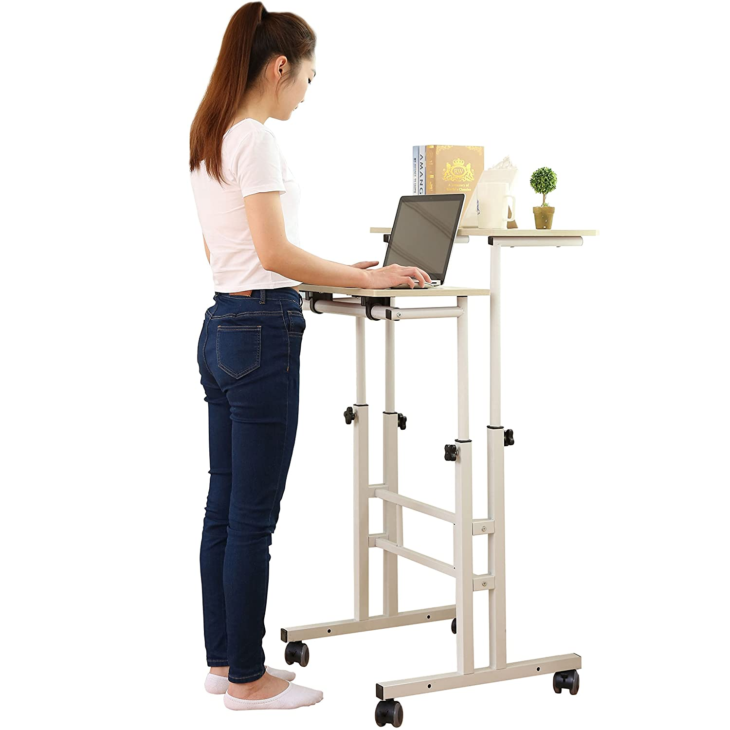 SDADI 2 Inches Carpet Wheels Mobile Standing Desk Stand Up Desk Height Adjustable Home Office Desk with Standing and Seating 2 Modes 3.0 Edition, Light Grain S001WFLT