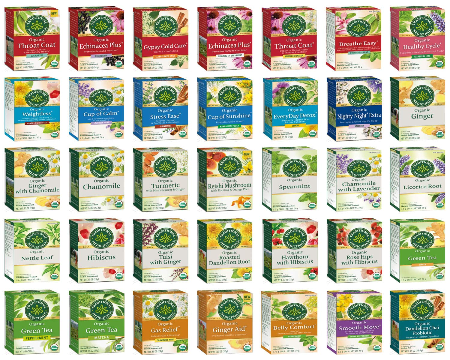 Traditional Medicinals Tea Bag Sampler - Unique Tea Sampler Variety with 70 Organic Herbal Teas - An Excellent Care Package or Gift Set - 35 Varieties - 70 Tea Bags Packaged in a Custom Gift Box