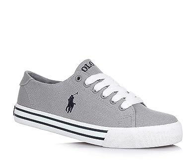 95a61cbd7ccb89 POLO RALPH LAUREN - Chaussure à lacets grise en tissu, garçon-35 ...
