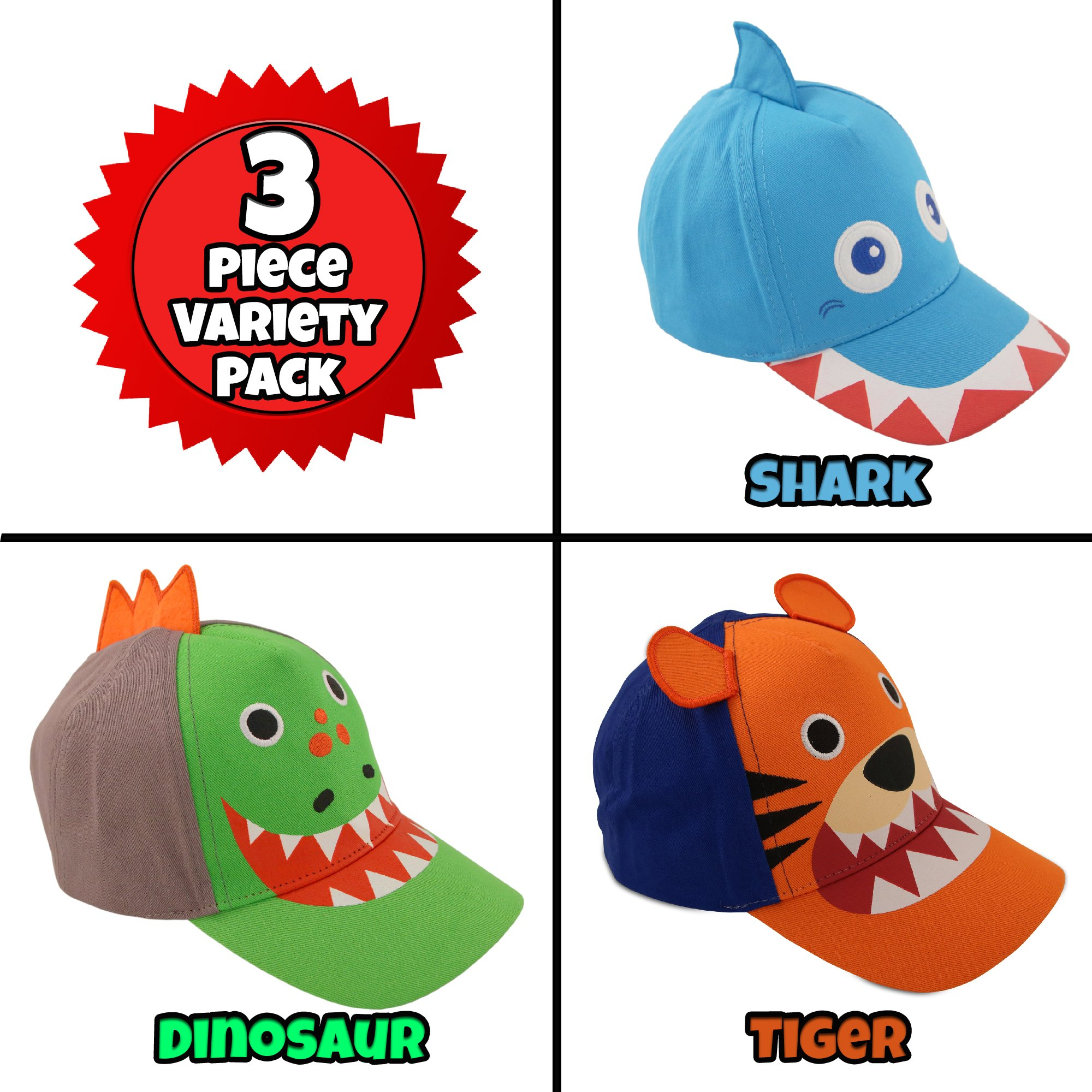 ABG Accessories Toddler Boys Cotton Baseball Cap with Assorted Animal Critter Designs, Age 2-4 (3 Piece Variety Design Pack) by ABG Accessories (Image #5)