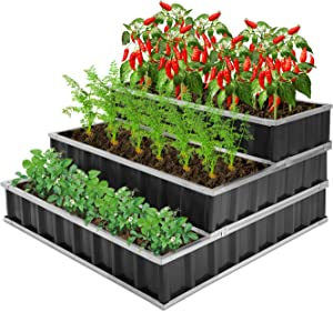 CEED4U 3 Tiers 4 x 4 x 2 Feet Metal Raised Garden Bed with 15 Packs Plant Labels and 1 Pair of Gloves, Large Planter Box Steel Kit for Vegetables, Flower, Herbs, Fruits (Dark Grey)