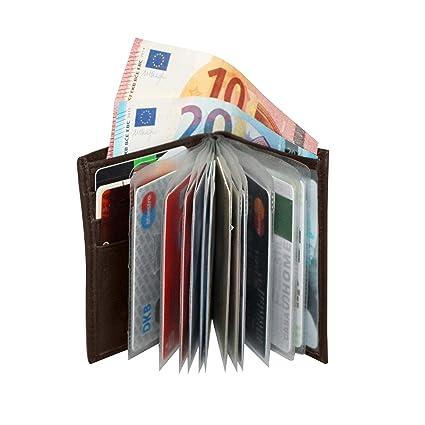 BelliBiz Estuche para Tarjetas de Cuero Paris | Cartera Pequeña para Hombres | Monedero con Bolsillo para Moneda | Cartera Slim para 16 Tarjetas | ...