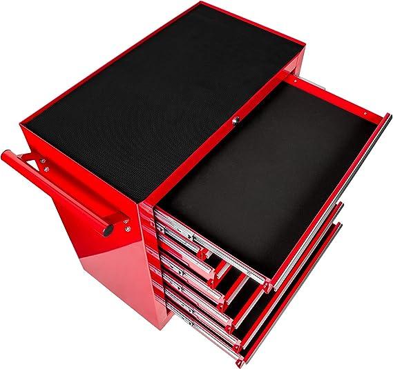 Rojo | No. 402799 -varios modelos- 7 cajones con cerradura TecTake Carro de herramientas con ruedas