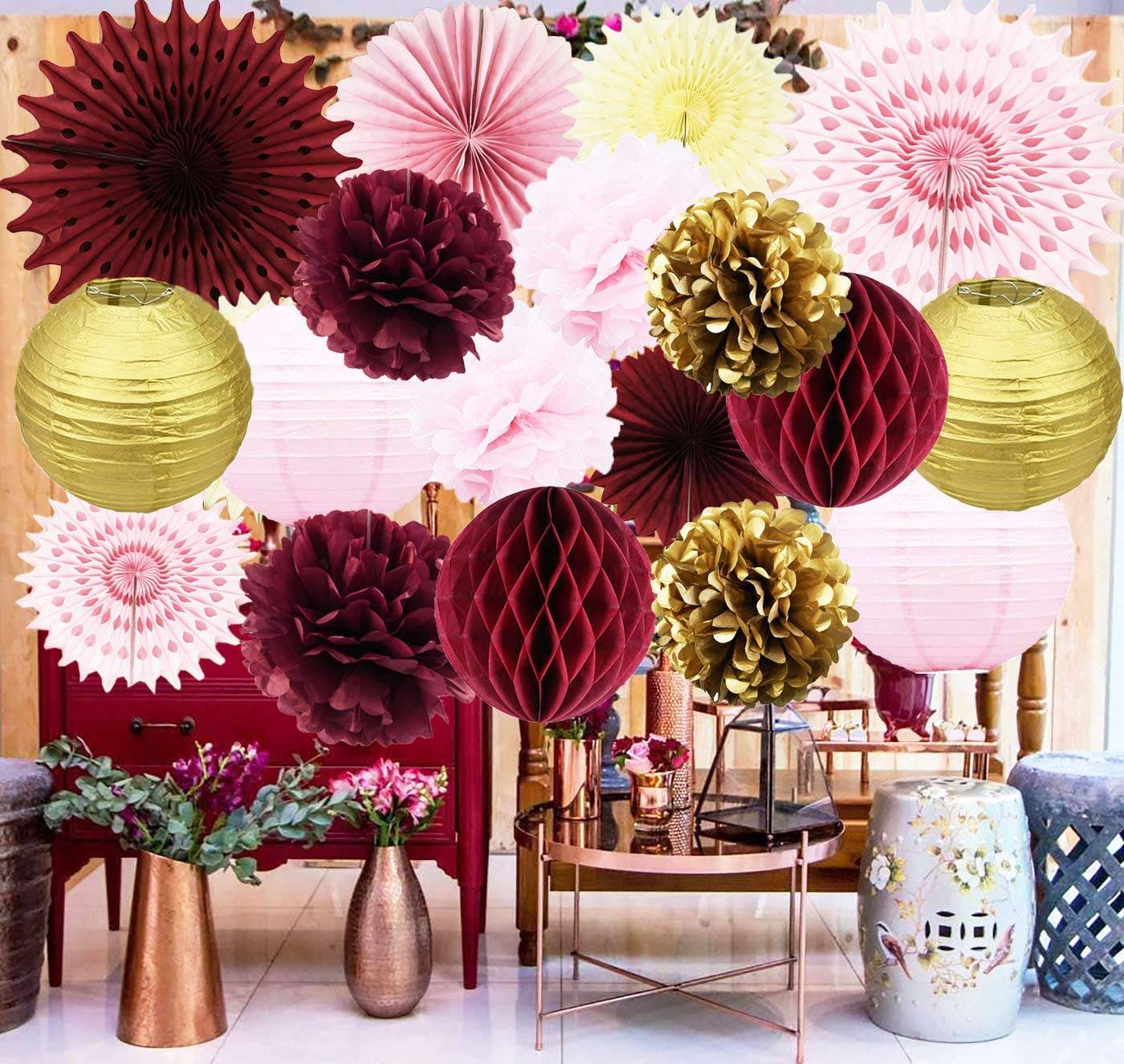 Maroon Bridal Shower Decorations Burgundy Pink Gold Birthday Party Decorations/Burgundy Wedding Decor Tissue Pom Pom/Tissue Paper Fan/Honeycom Balls Lanterns Burgundy Baby Shower Decorations by Delaiwen