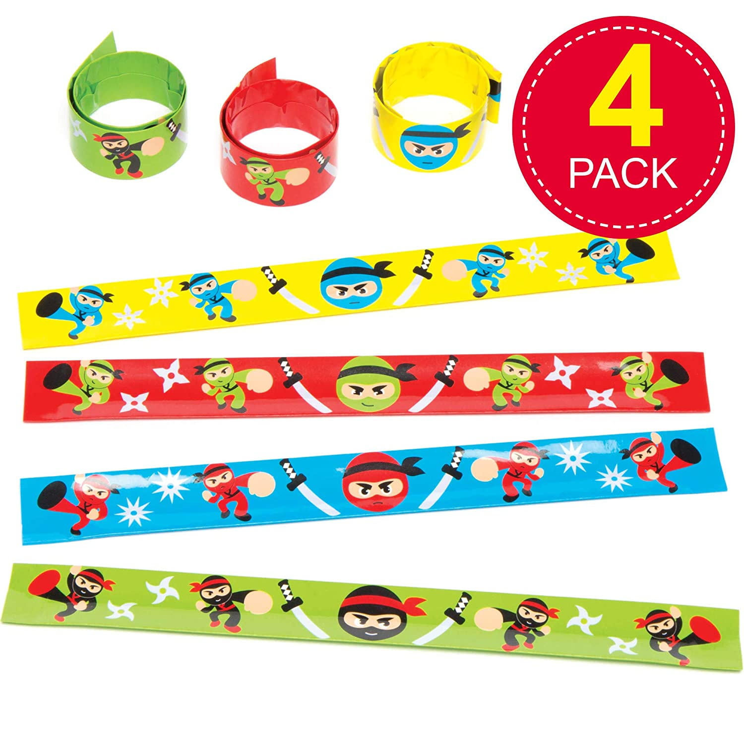 Baker Ross Ltd Ninja Snap-on Bracelets for Children to Wear - Perfect Toy Party Bag Stuffer Loot Gifts for Kids (Pack of 4)