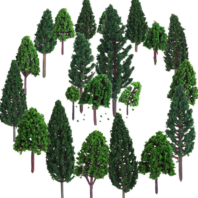 Bememo 22 Piezas de Modelo de Árbol 3 - 16 cm de Árboles de Modelo Mezclados Árboles de Tren Árbol Diorama de Paisaje de Ferrocarril Árboles de Arquitectura para DIY Paisaje, Verde Natural product image