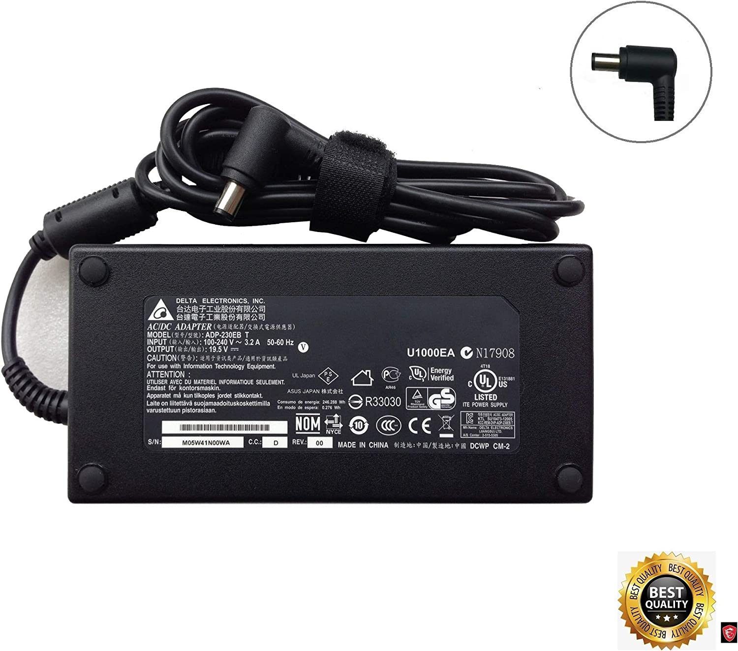 AC Adapter Power Supply Charger for MSI Gaming GS75 9SG-250AU Stealth