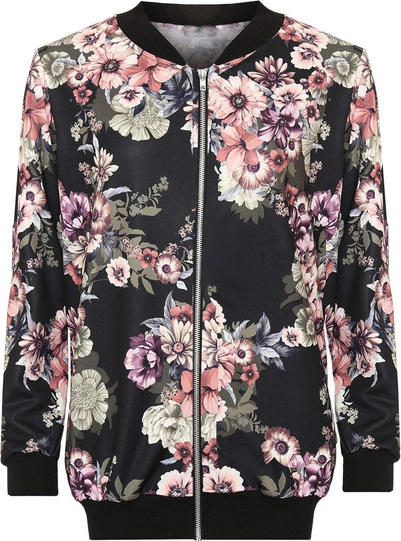 Funky Fashion Shop Ladies Long Sleeve Plain Zip Up Elasticated Bomber Jacket Top Plus Size 14-28 Floral Print