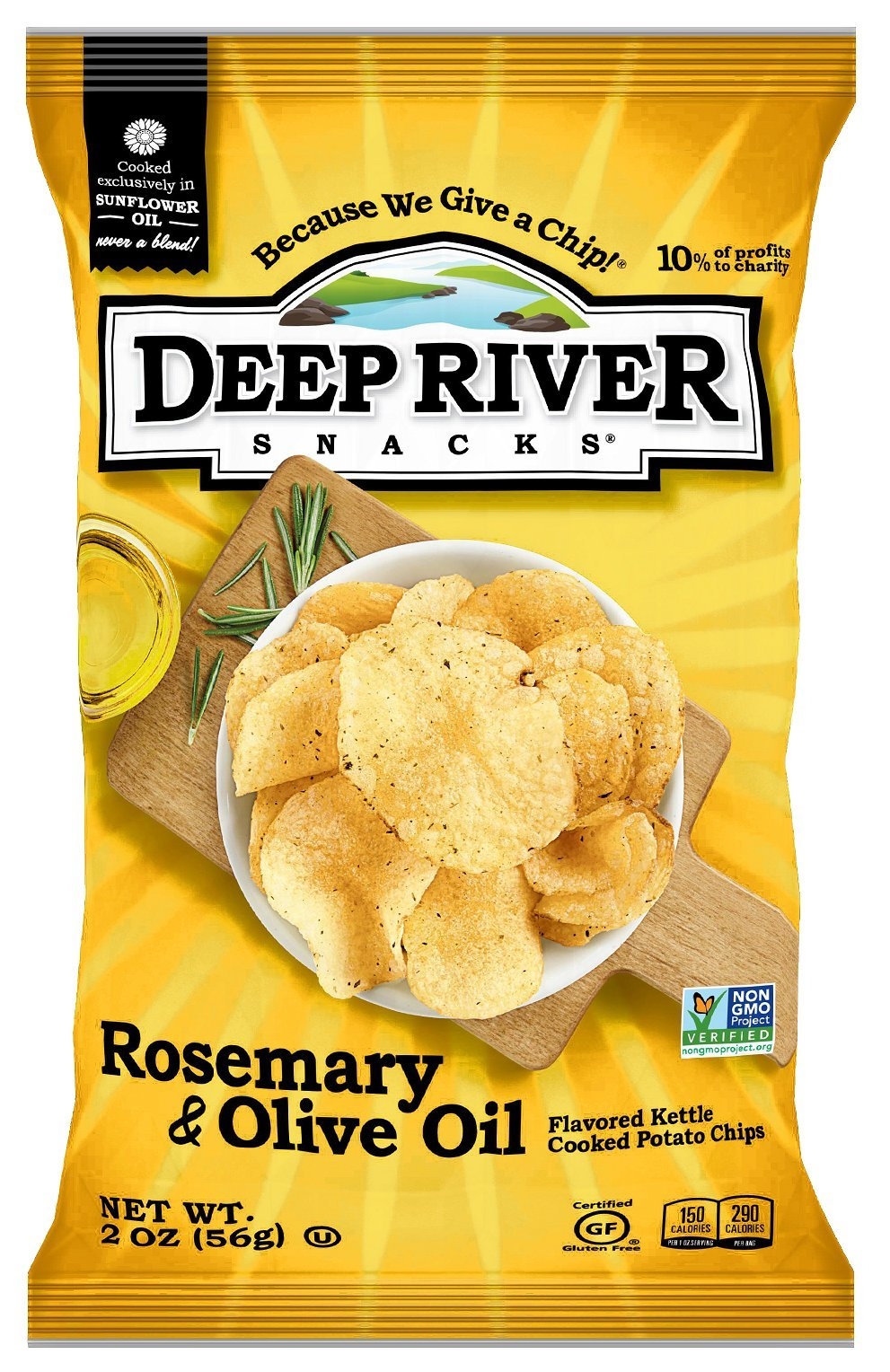 Deep River Snacks Kettle Chips, Rosemary & Olive Oil, 2-Ounce Bags (Pack of 24) by Deep River