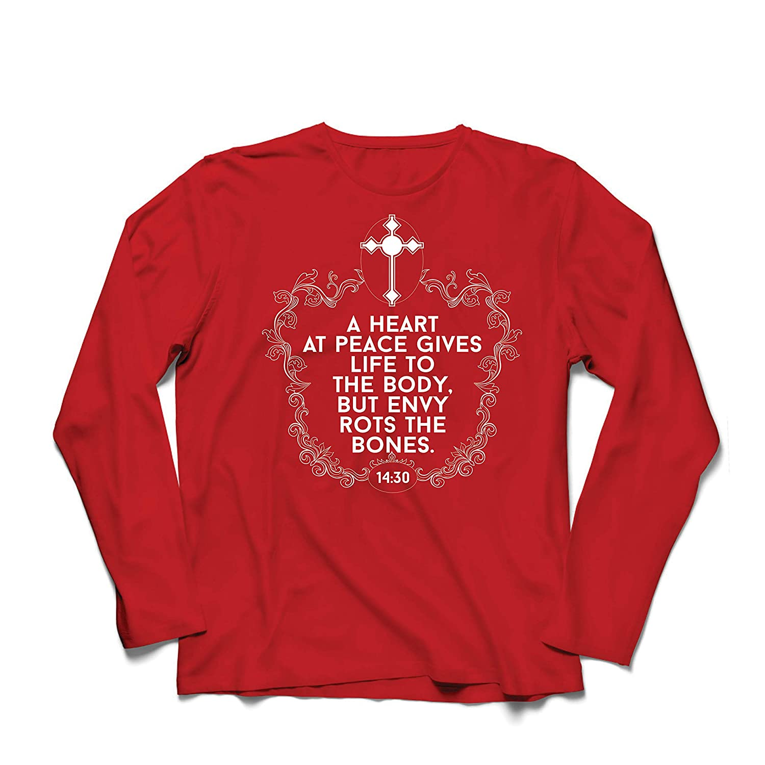 lepni.me Men/'s T-Shirt A Heart at Peace Gives Life to a Body Proverbs 14:30