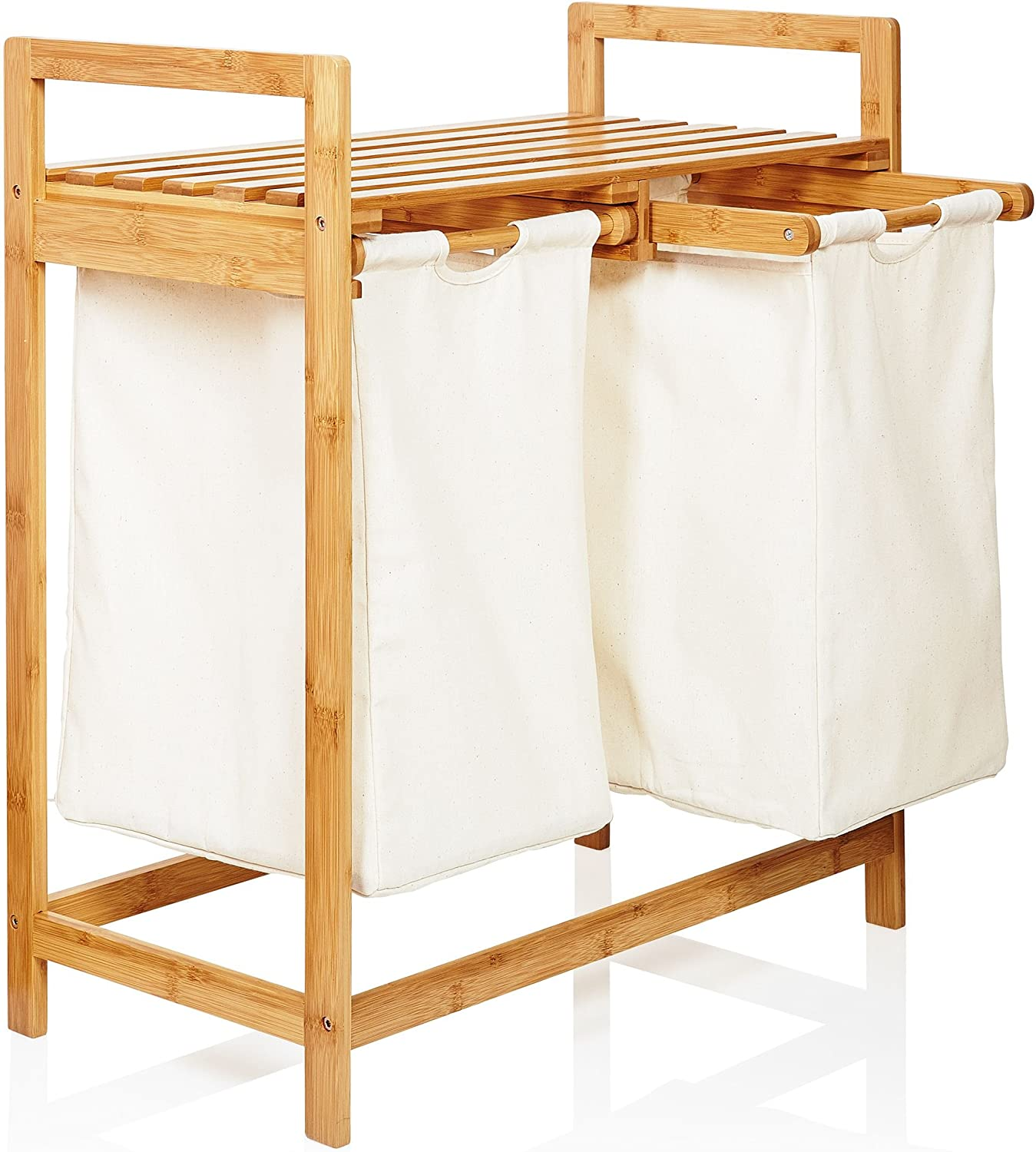 Lumaland Bamboo Laundry Basket with 2 Extendable Laundry Bags - 73 x 64 x 33 cm - Storage Organizer Box Hamper Basket - 2X Pull-Out Compartments - Portable - Beige