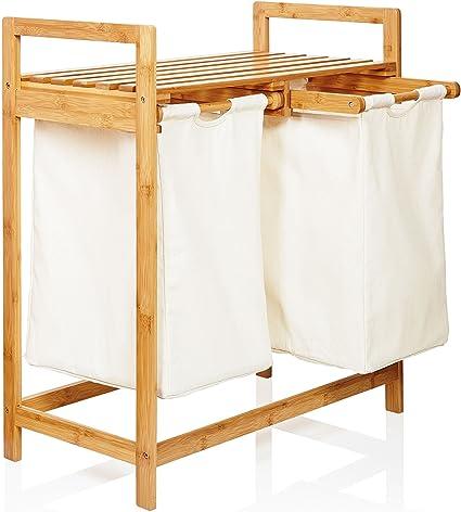 Imagen deLumaland cesto para ropa en bambú, con 2 compartimientos extraibles, ca. 73 x 64 x 33 cm